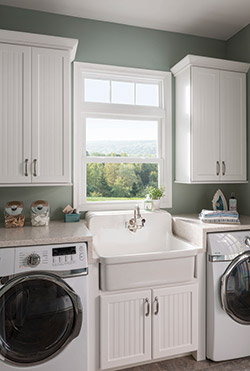 double hung window in a laundry room