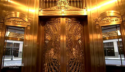 peacock door at the palmer house in chicago