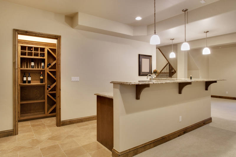 basement bar and wine rack