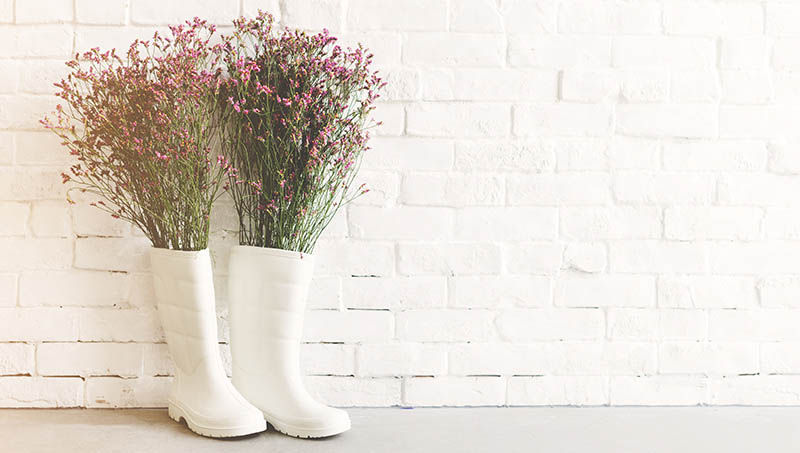 rainboots flowers