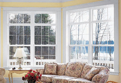double hung windows in a living room