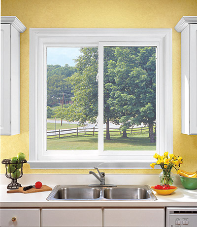 sliding window in a kitchen