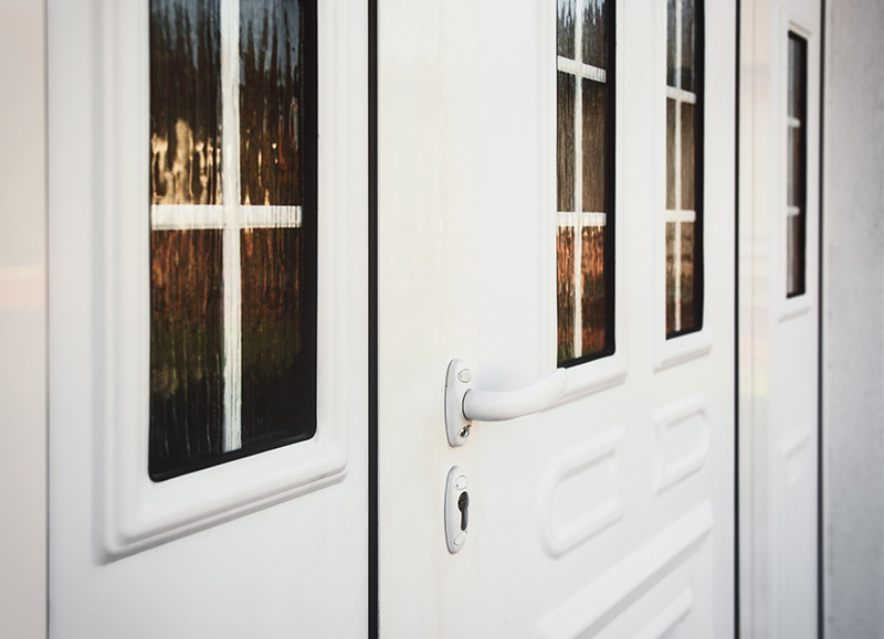 white style custom front doors with windows